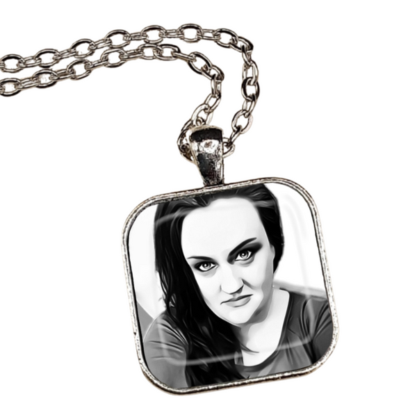 Black and White Pencil Portrait Pendant