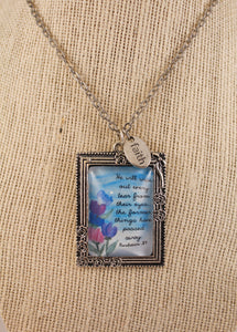 Revelation 21:4 Watercolor Necklace with Faith Charm