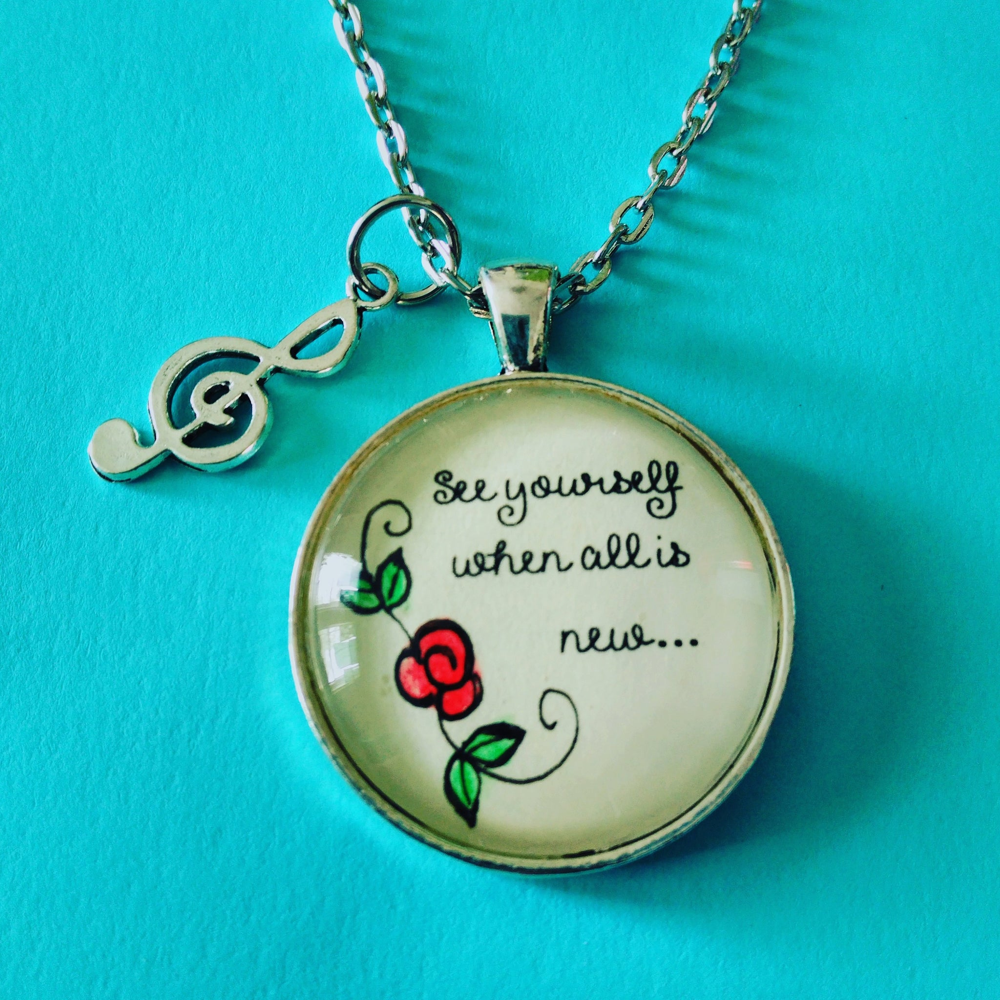 See Yourself When All Is New Pendant with Hand-Painted Watercolor Flower,  Music Note Charm,  Tibetan Silver,  Glass Cabochon