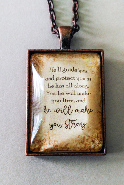 He Will Make You Strong Parchment Pendant and Chain, Antique Copper Rectangle, Bible NWT