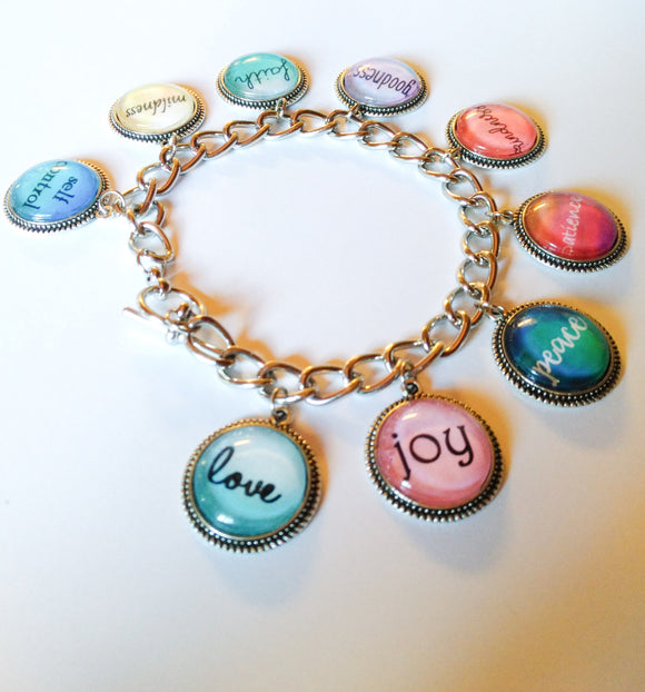 Fruitage of the Spirit Toggle Charm Bracelet, Glass Cabochon, JW, 9 charms, New World Translation