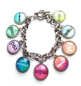 Spanish Fruitage of the Spirit Toggle Charm Bracelet, EN ESPANOL, Glass Cabochon, JW, 9 charms, New World Translation