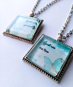 Best Friend Necklace Set, Just See Yourself, Just See Me Too, Aqua Butterfly, Antique Silver, JW.org, JW gifts, Kingdom Songs