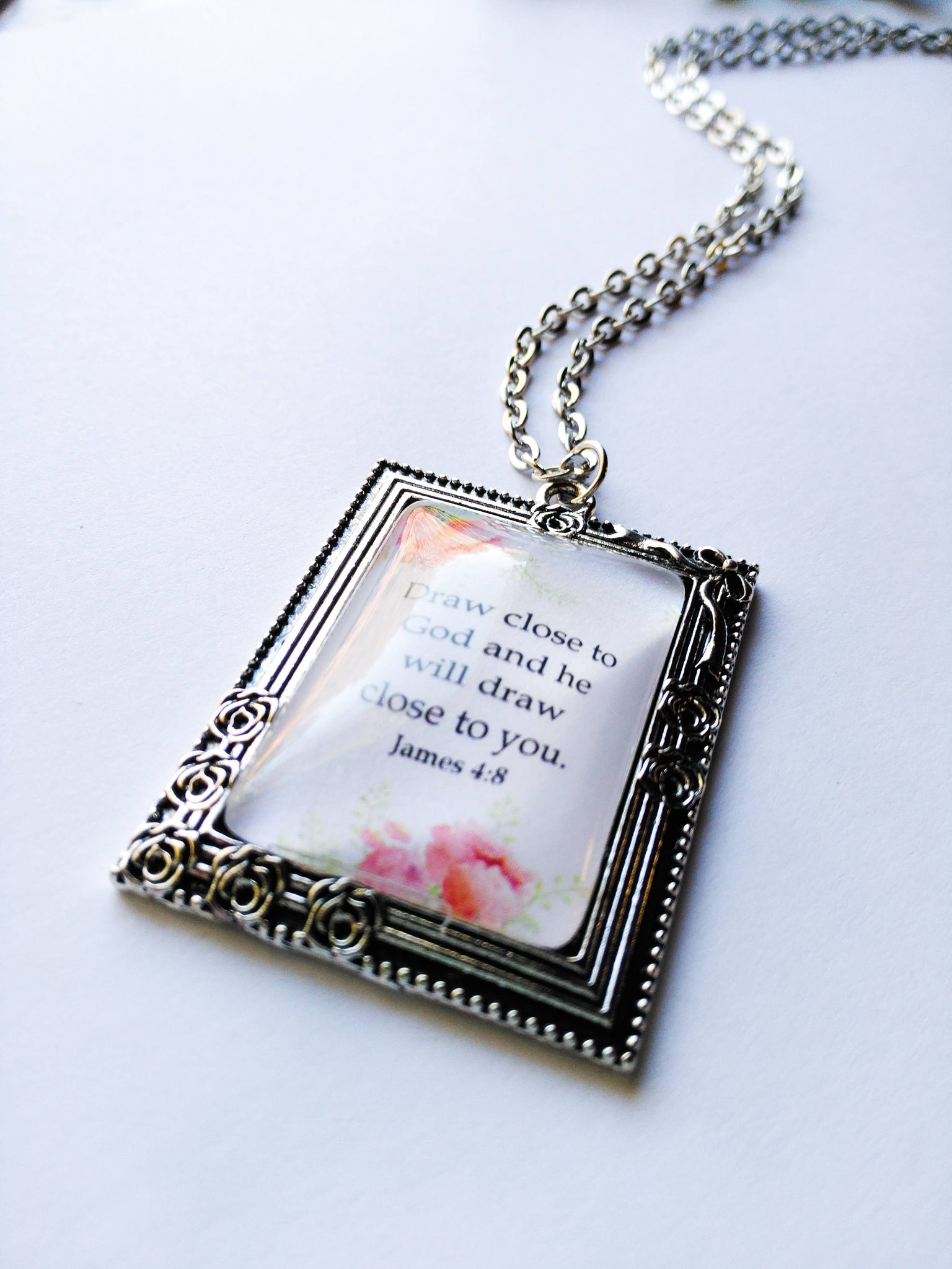 Draw Close To God Pink Rose Border Pendant with Chain, Antique Silver Victorian, James 4:8, JW.org, JW gifts, Baptism Gift