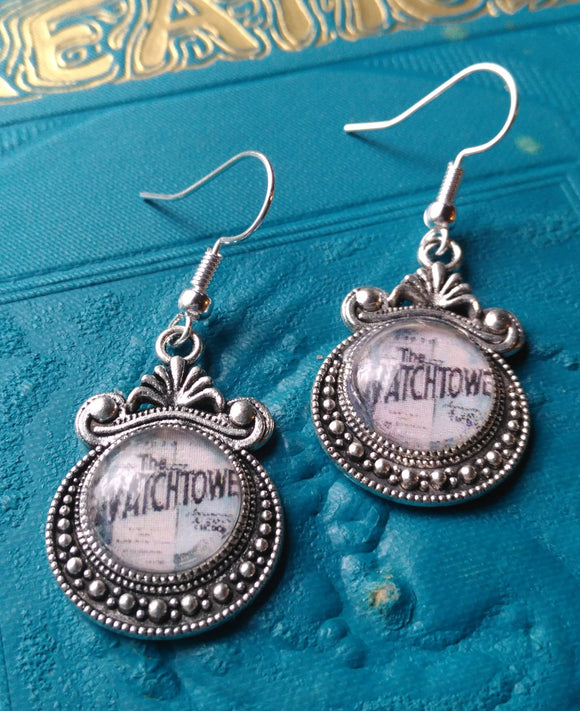 Vintage Watchtower Fancy Setting Earrings, JW, JW,org, Vintage Watchtower Publications, JW Gifts