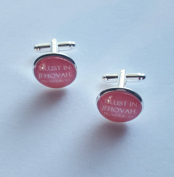 "Shiny Silver Cuff Links ""Trust In Jehovah"" on Burgundy Background, Glass Cabochon, JW, JW.org, Gifts for Brothers, Elders, Proverbs 3:5"
