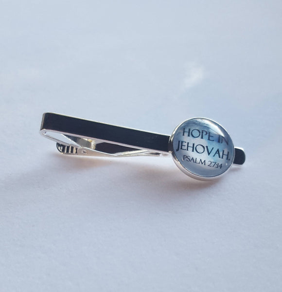"Shiny Silver Tie Clip ""Hope in Jehovah"" on Sky Blue Background, Glass Cabochon, JW, JW.org, Gifts for Brothers, Elders Tie Bar Tie Tac"