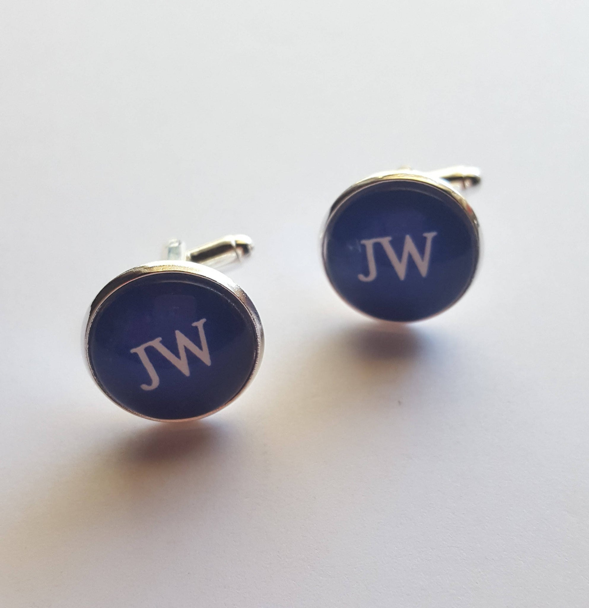 "Shiny Silver Cuff Links ""JW"" on Royal Blue Background, Glass Cabochon, JW.org, Gifts for Brothers, Elders, Baptism"