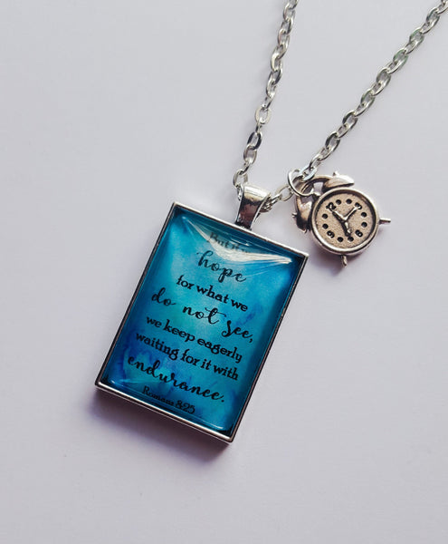 Hope For What You Do Not See Blue-Violet Watercolor Pendant with Alarm Clock Charm, JW.org, NWT, Jehovah's Witnesses, Endurance