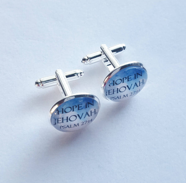 "Shiny Silver Cuff Links ""Hope in Jehovah"" on Sky Blue Background, Glass Cabochon, JW, JW.org, Gifts for Brothers, Elders"