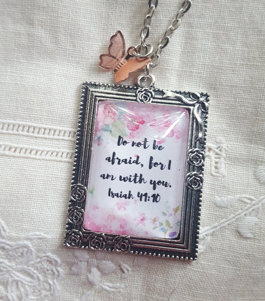 Isaiah 41:10 Watercolor Necklace, Antique Silver with Rose Gold Butterfly, JW.org, New World Translation, JW gifts, Scripture Jewelry