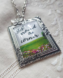 "Just Around the Corner Paradise Pendant, Butterfly Charm, JW.org, JW Broadcasting, Antique Silver Frame, 24"" Chain, can be customized!"
