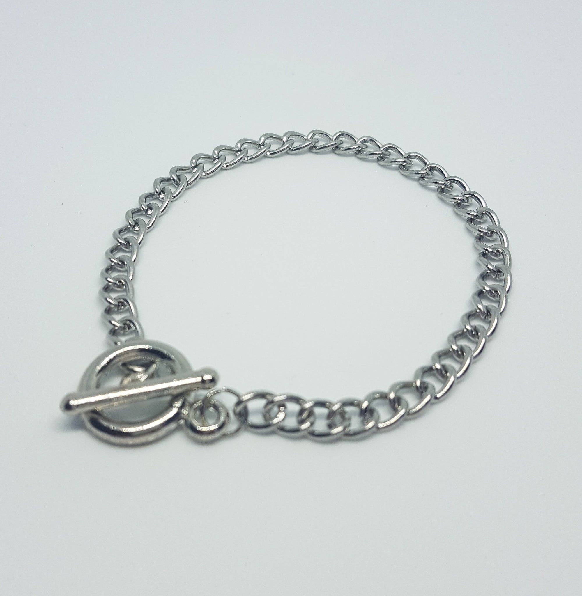 "Toggle Charm Bracelet, Zinc Alloy Metal, Link, Starter Bracelet, Fits up to 7.5"" Wrist"