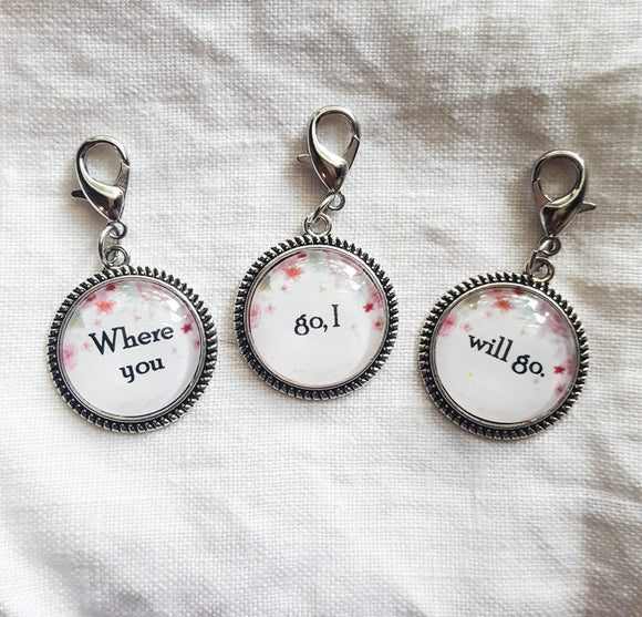 Ruth 1:16 Best Friends Charm Set of 3 for Bracelet, Necklace, European, Bail, Clip On, Design Your Own, BFF, Sisters, Mother Daughter