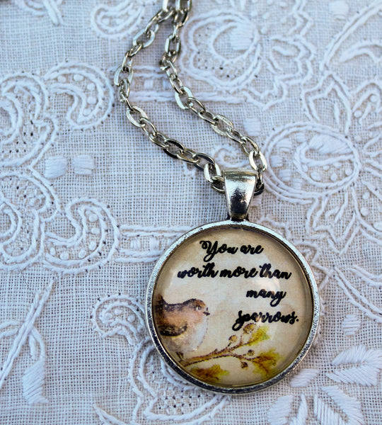 You Are Worth More Than Many Sparrows Necklace, Pendant, Luke 12:7 JW, Best Life Ever, Gifts, Encouragement, Bible Student, Baptism
