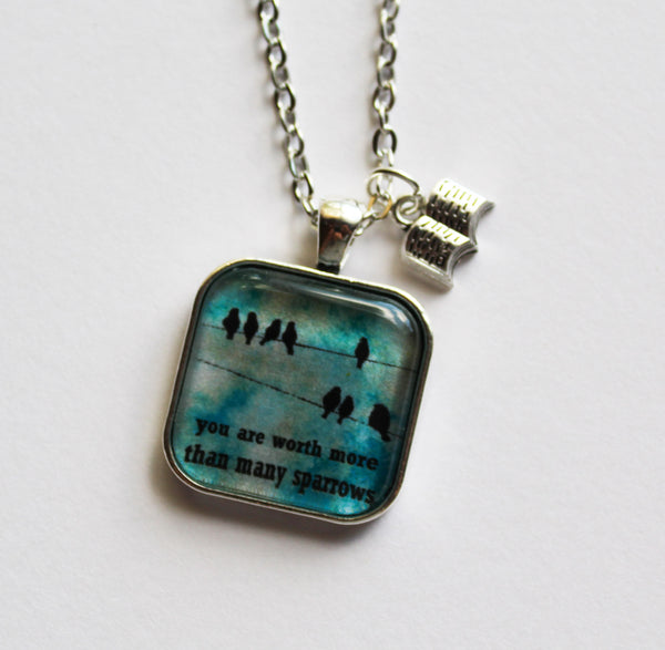 You Are Worth More Than Many Sparrows Necklace, Birds on a Wire