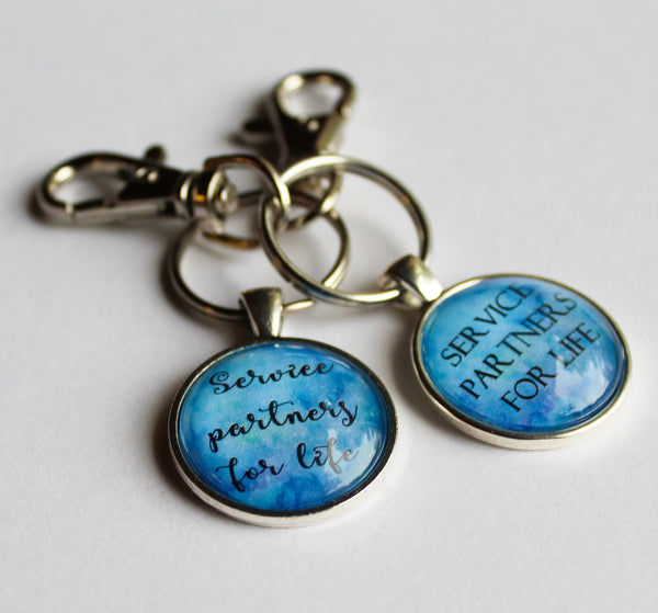 Service Partners for Life Couple Set, Two Keyrings Or Keyring and Necklace, Blue/Violet, Antique Silver, Best Friends, Pioneer, SKE