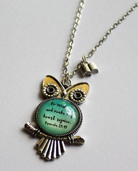 "Proverbs 27:11 Owl Necklace ""Make My Heart Rejoice"""