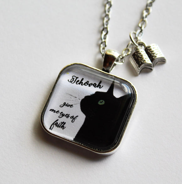 Jehovah, Give Me Eyes of Faith Cat Pendant on Cable Chain, JW, Be Courageous, Baptism Pioneer Encouragement Gift, Bible, Jewelry, Kitty