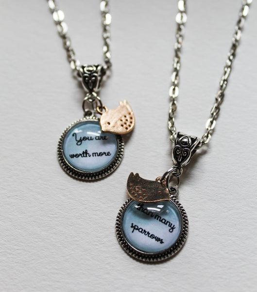You Are Worth More Than Many Sparrows Necklace Set, Luke 12:7, Best Friends, Sisters, Antique Silver with Rose Gold Bird Charms