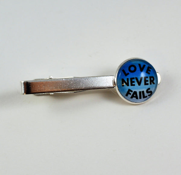 Love Never Fails Tie Bar/Tie Clip, Choose Your Color