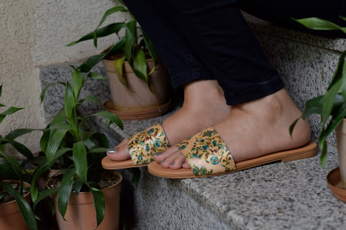 Beige Floral Sliders