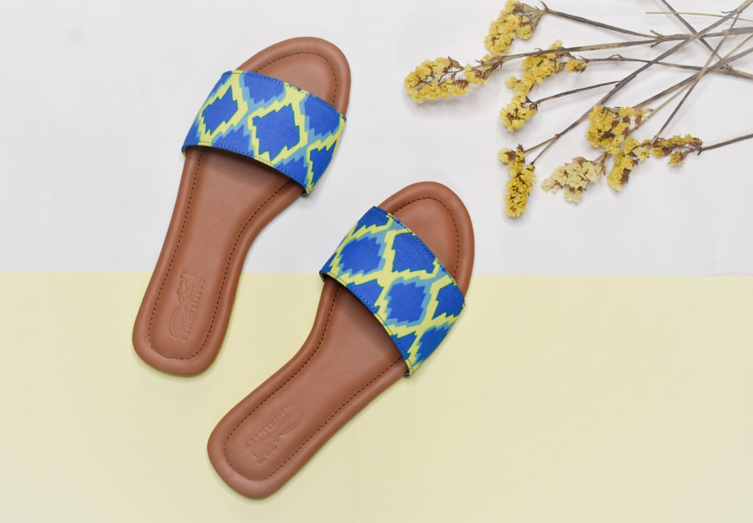 Yellow and blue electric slides