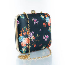 Load image into Gallery viewer, Black floral clutch bag