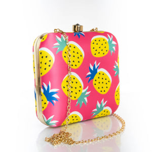 Pink pineapple print clutch