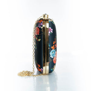 Black floral clutch bag