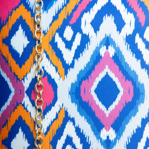 Multicolor Ikat clutch bag