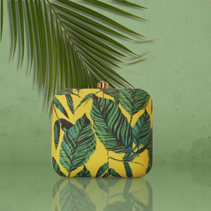 Tropical print clutch