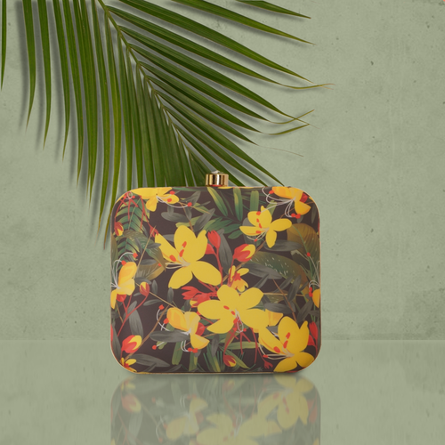 Yellow floral clutch