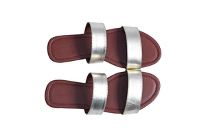 Metallic Double Strap Sliders