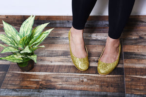 Golden glitter ballerinas
