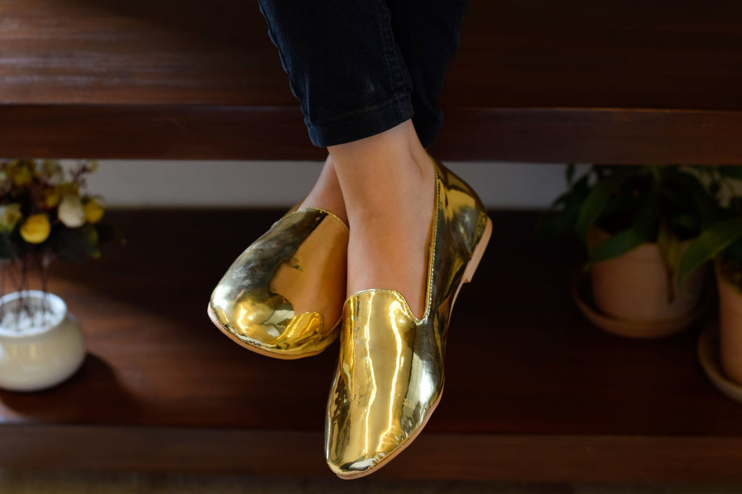 Golden Mirror Loafers