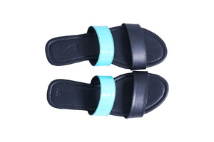 Neon blue double strap sliders