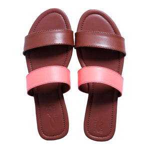 Neon pink double strap sliders