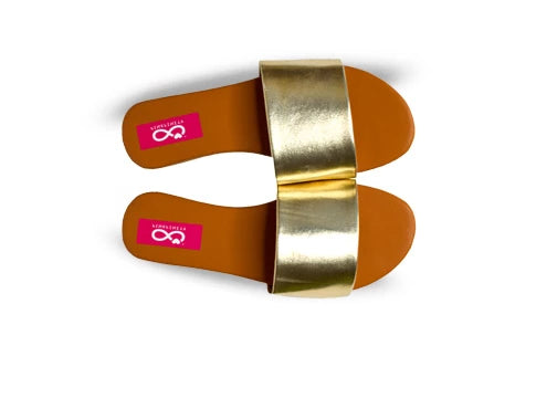 Metallic Single Strap Sliders