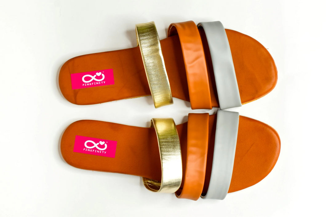Metallic Three Strap Sliders