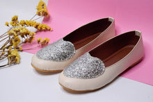 Load image into Gallery viewer, Silver glitter heart ballerinas