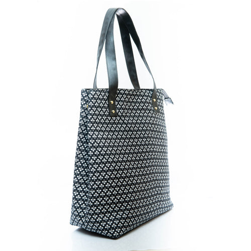 Black mini print tote bag