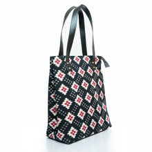 Load image into Gallery viewer, Black ikat tote bag