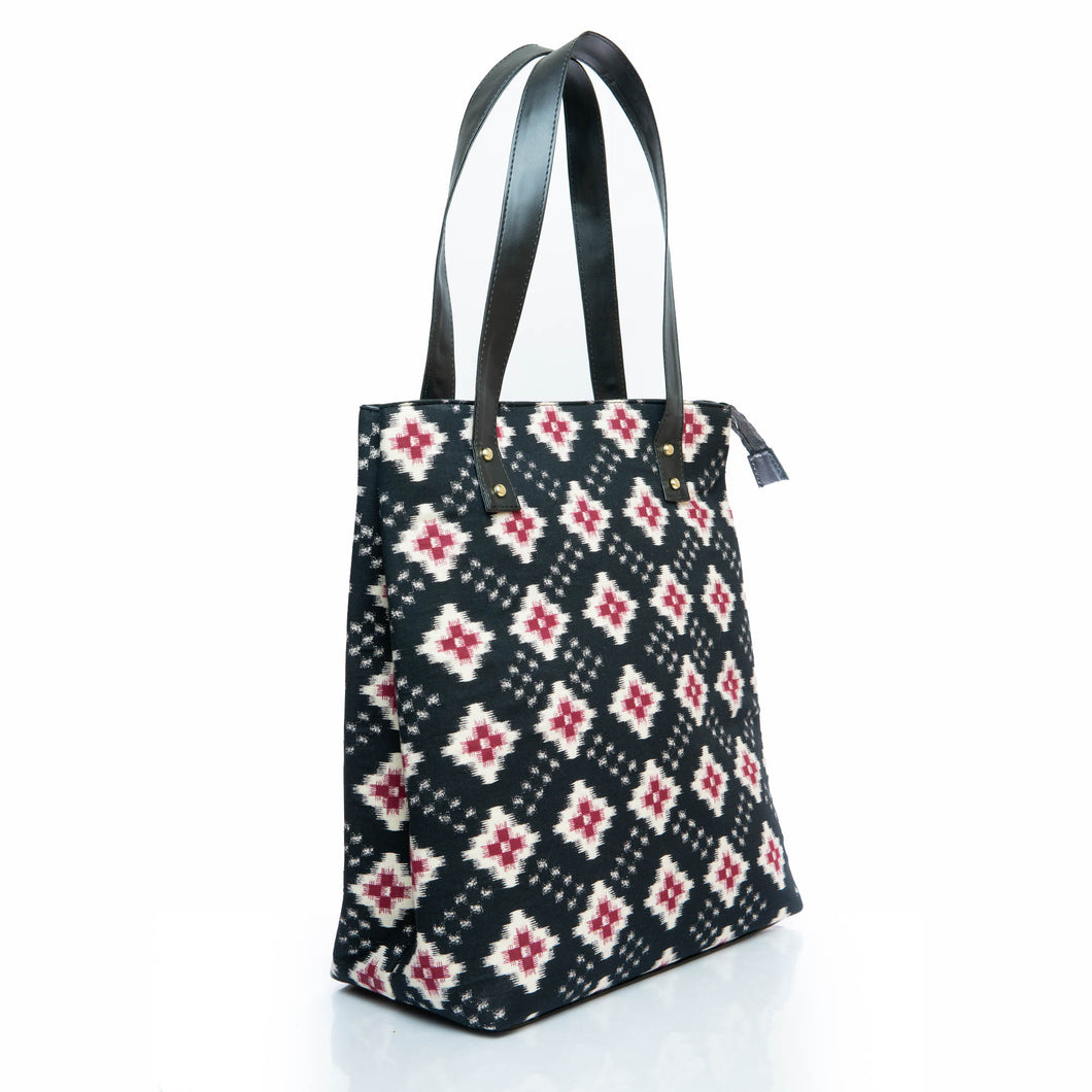 Black ikat tote bag