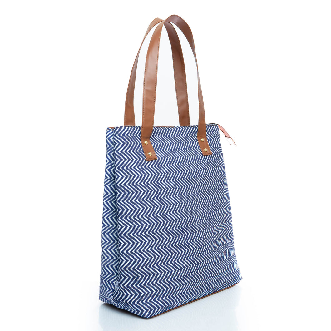 Blue chevron print tote bag