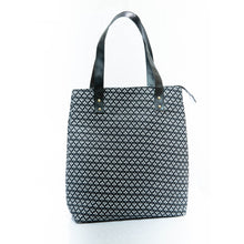 Load image into Gallery viewer, Black mini print tote bag
