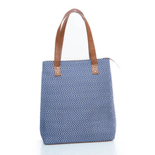 Load image into Gallery viewer, Blue chevron print tote bag