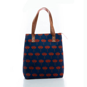 Lotus print tote bag