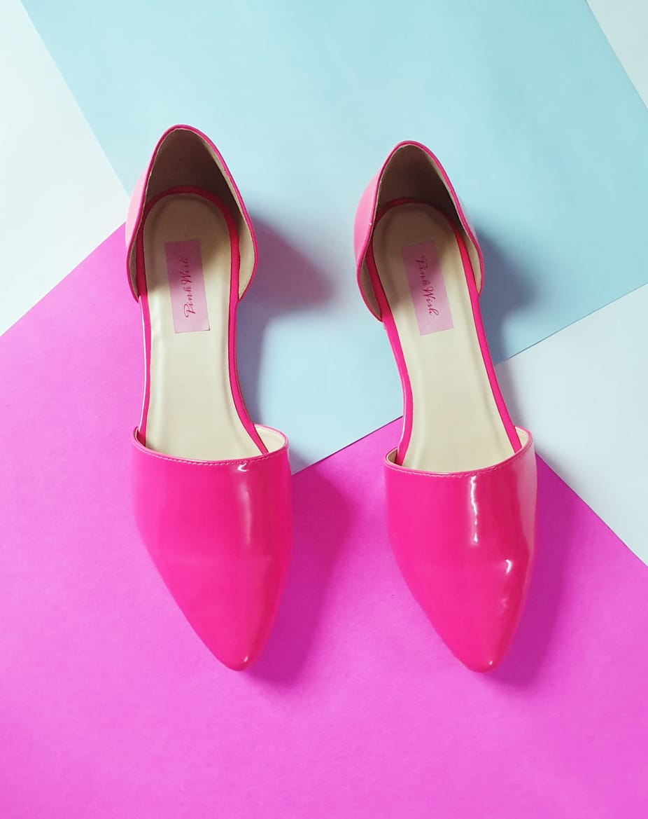 Neon Pink D'orsay flats