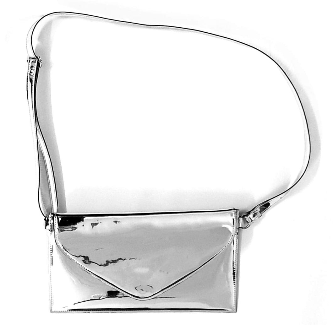 Silver Mirror Envelope clutch